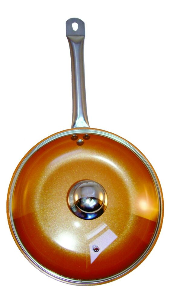 Copper Frying Pan 10 5 Inch With Glass Lid Ceramic Coating