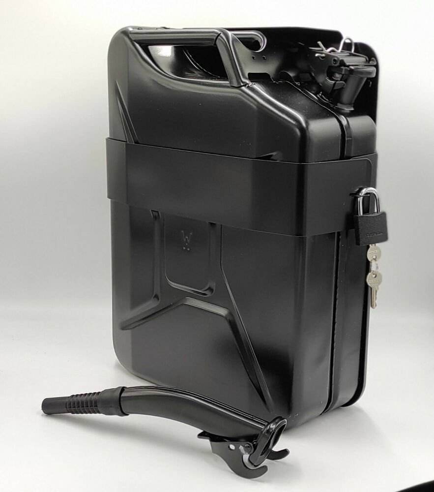 jerry can with holder 20l liter 5 gallons steel tank fuel gas gasoline ebay. Black Bedroom Furniture Sets. Home Design Ideas