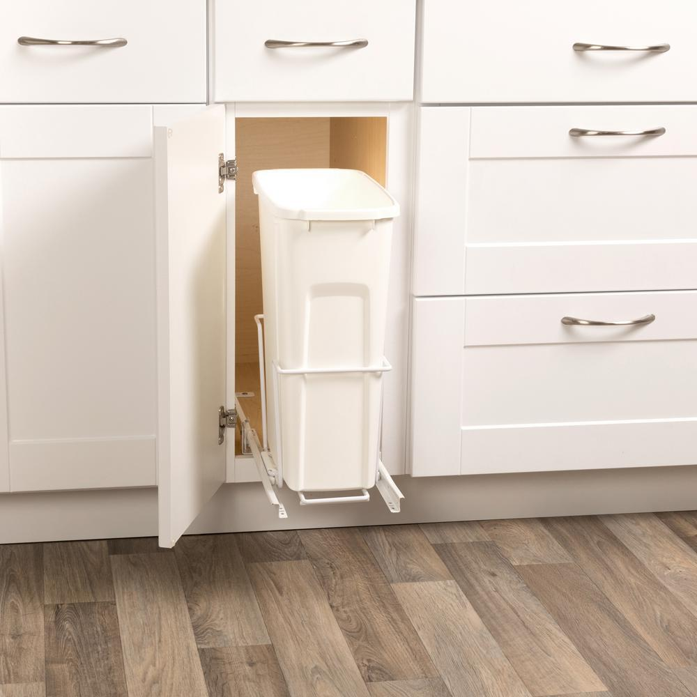 Kitchen slide pull out in kitchen cabinet trash can waste What can i put on my sideboard