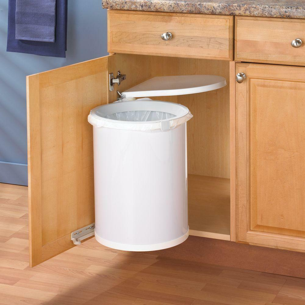 Kitchen In Cabinet Under Sink Trash Can Waste Basket Lid