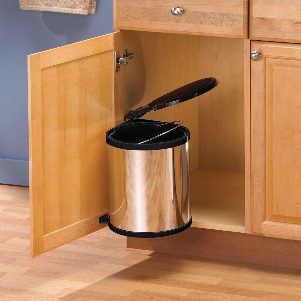 Kitchen Garbage Can Cabinet: Kitchen Under Sink In Cabinet Trash Can Lid Waste
