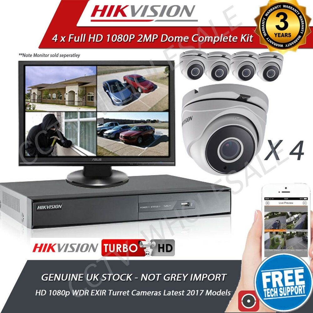 4x HD 1080P CCTV CAMERA SYSTEM OUTDOOR DVR HIKVISION 4CH ...