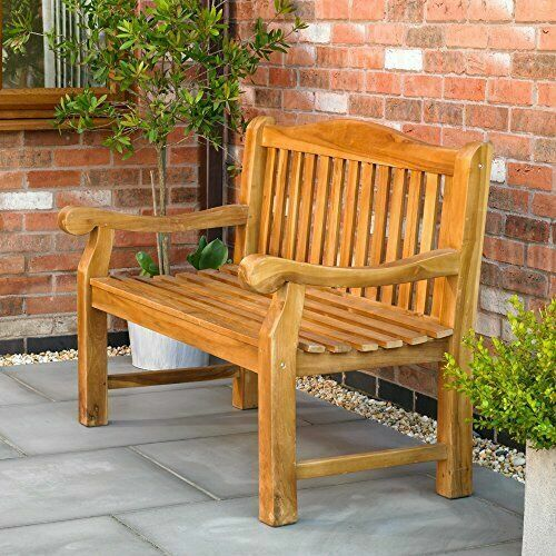 Wido Ornately Curved Wooden Bench Outdoor Patio Heavy Duty