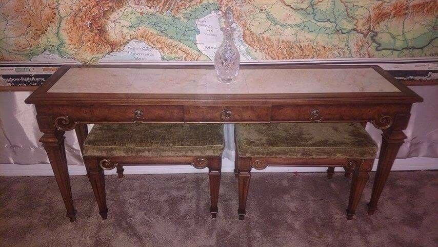 Antique Weiman Vintage Solid Carved Wood Marble Console
