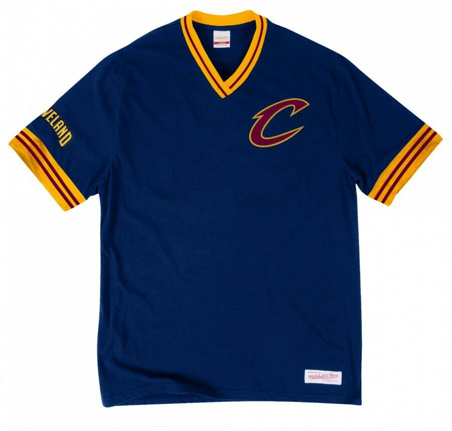 73cadd3e8 ... discount mitchell ness cleveland cavaliers navy overtime win vintage v  neck t shirt nba 32e41 9cdcd