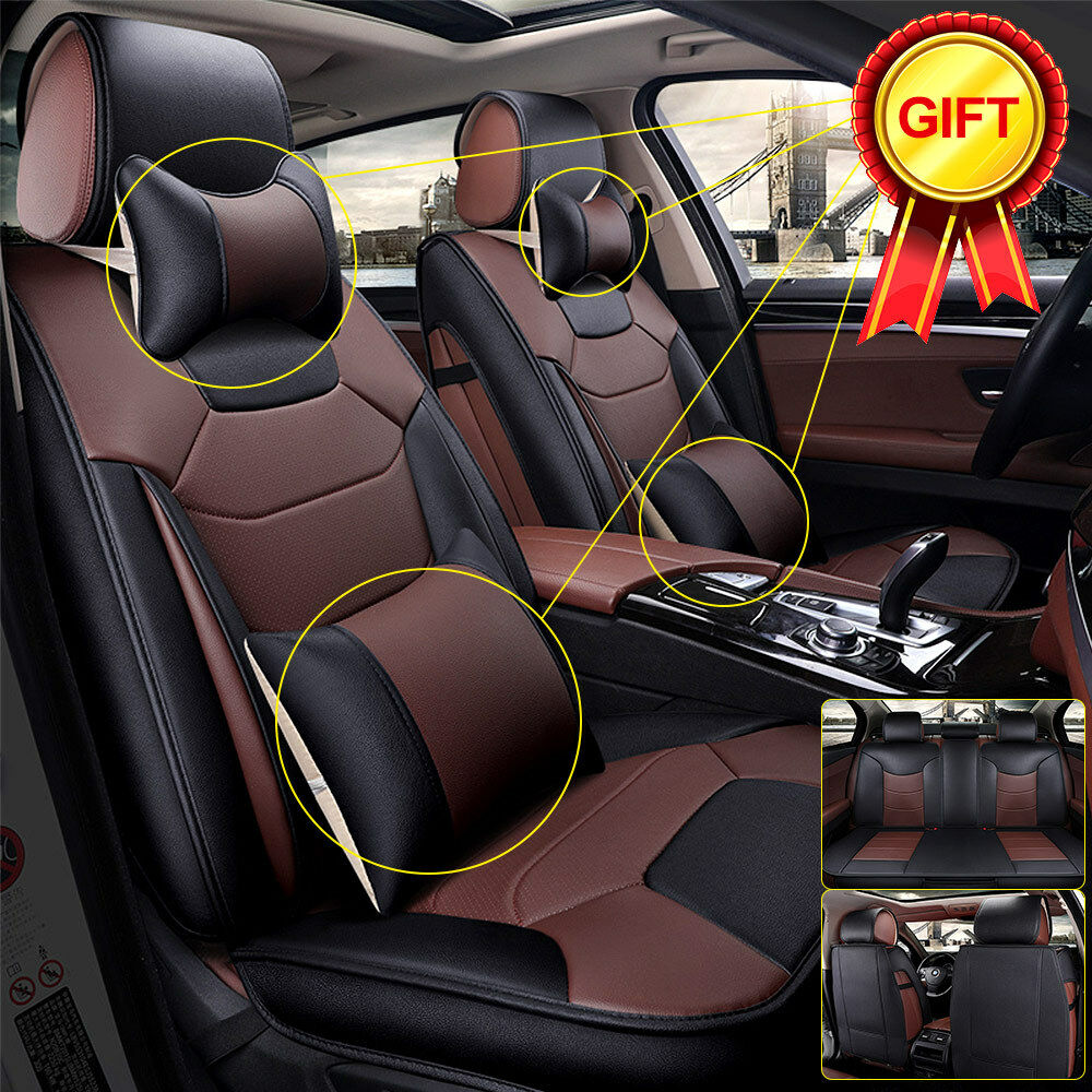 microfiber leather car seat cover 5 seats front rear w pillows size l coffee 602693012270 ebay. Black Bedroom Furniture Sets. Home Design Ideas