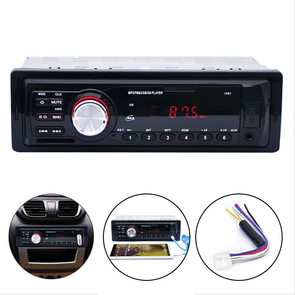 Car In-Dash 1 DIN Stereo Audio Player FM Aux Input