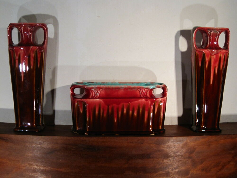 garniture de chemin e vase jardini re art deco fa ence barbotine orchies n 507 ebay. Black Bedroom Furniture Sets. Home Design Ideas