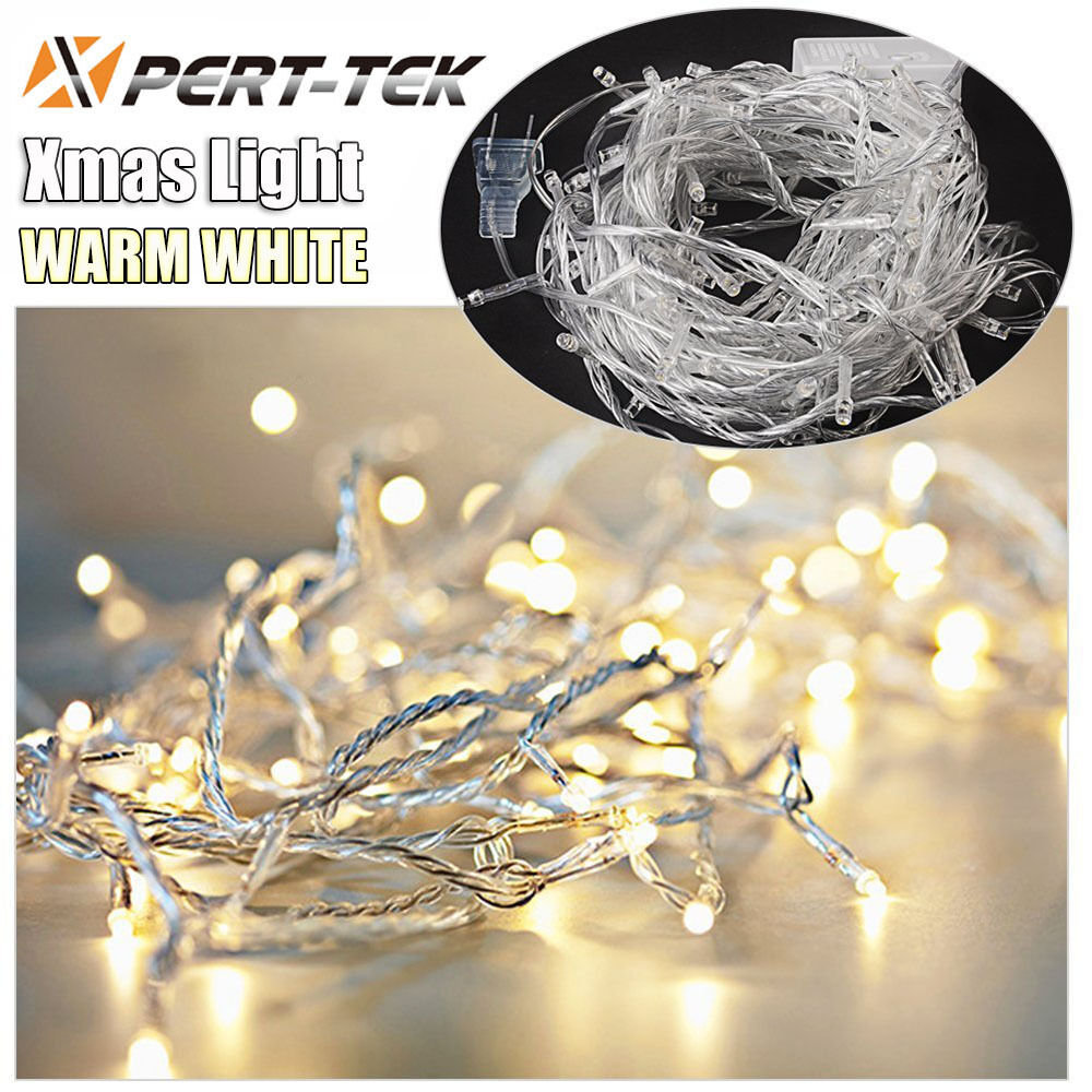 Outdoor String Lights Hardware: 50ft 200LED Warm White String Fairy Lights Party Christmas