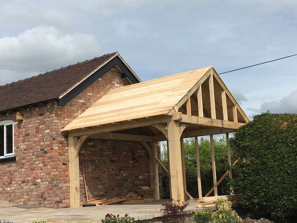 Oak framed wooden gazebo hot tub shelter car port ebay for Hot tub shelters