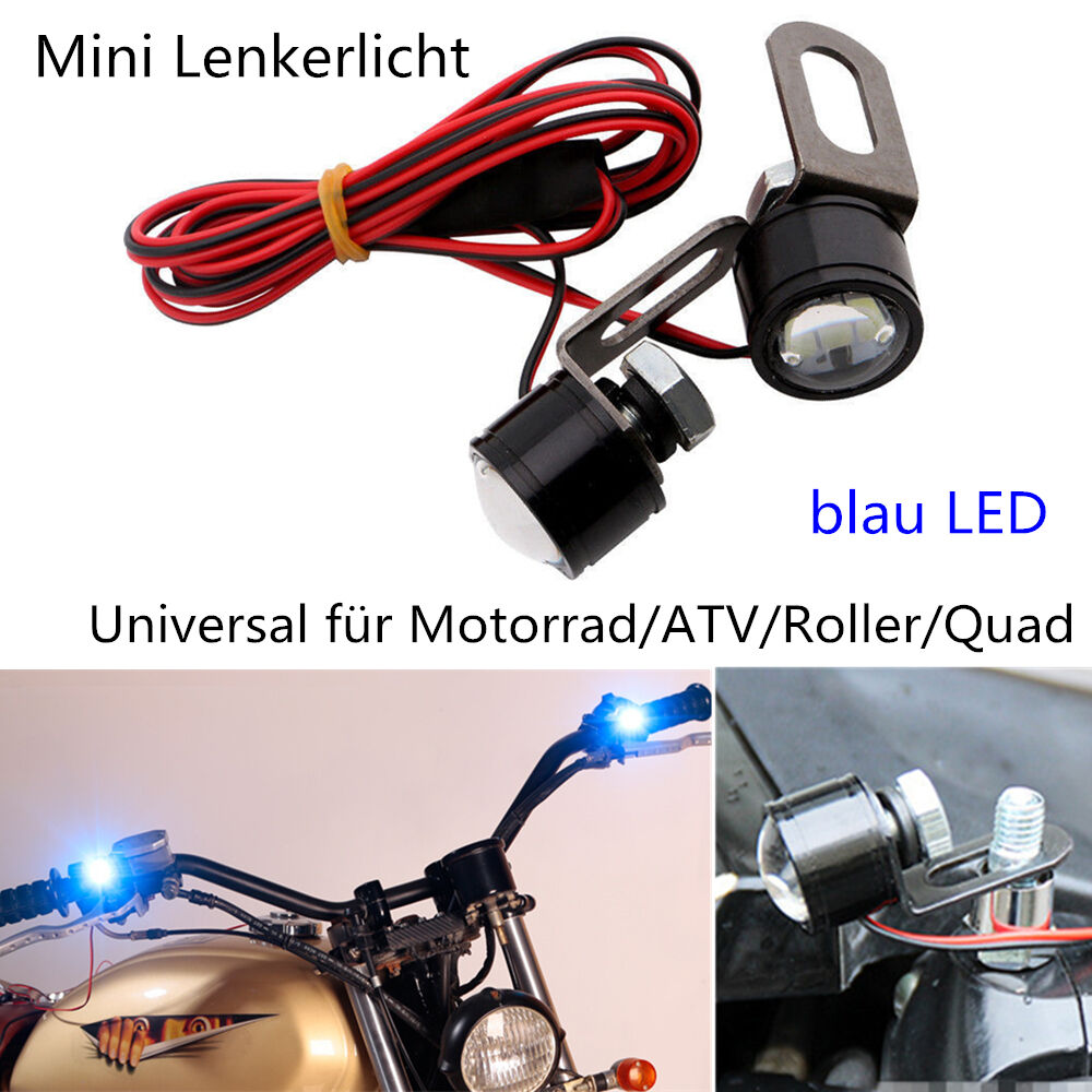 motorrad mini blau led lenker licht scheinwerfer 12v. Black Bedroom Furniture Sets. Home Design Ideas