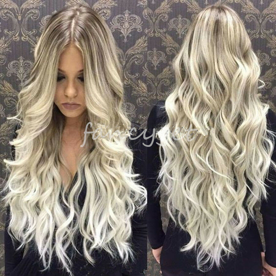 New Brazilian Remy Human Hair Wigs Ombre Blonde Wavy Lace