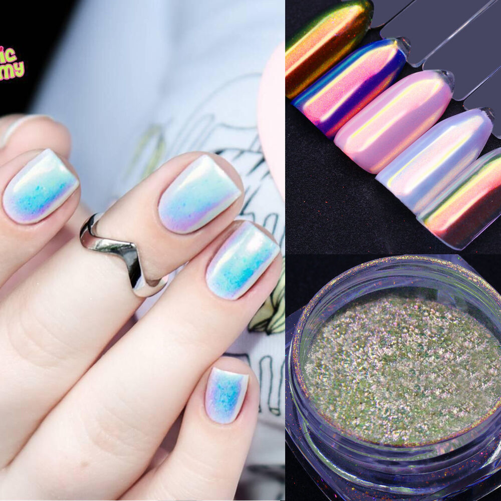 Chrome Nail Powder Cnd: Unicorn Chrome Powder Nail Art Chrome Pigment Mermaid