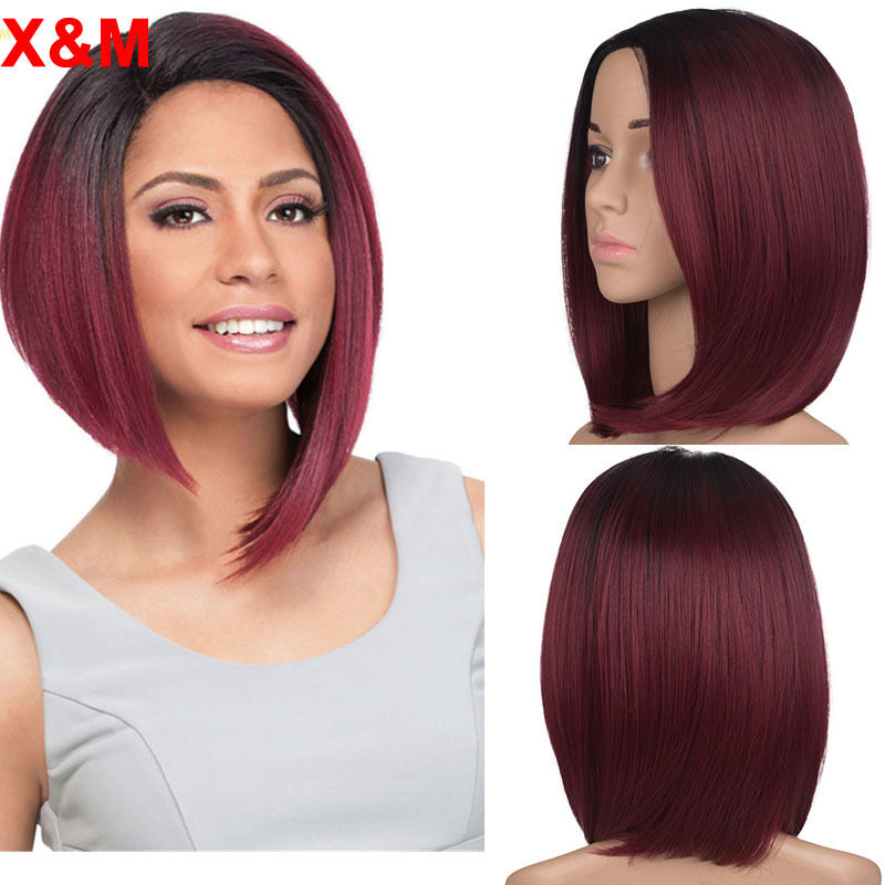 Vogue Short Ombre Red Bob Wigs For Black Women African