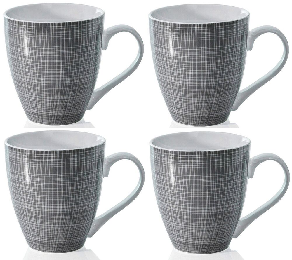 Sketch Set of 4 Mugs Porcelain Extra Large Coffee Soup Hot ...