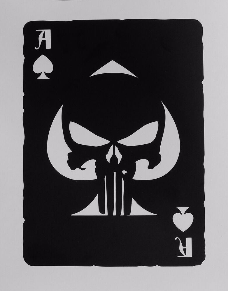 Ace Of Spades Old Playing Card Punisher Skull Sticker For