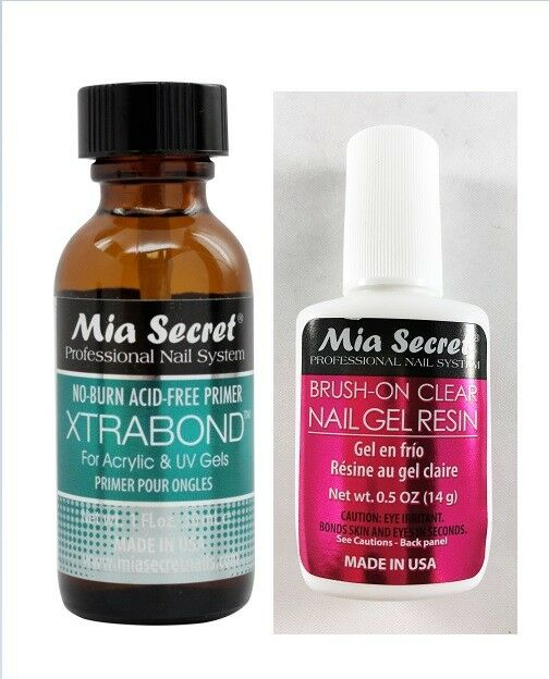 Mia Secret Strong Jet Clear Nail Glue 0.5oz +Brush-on Clear Nail Gel ...