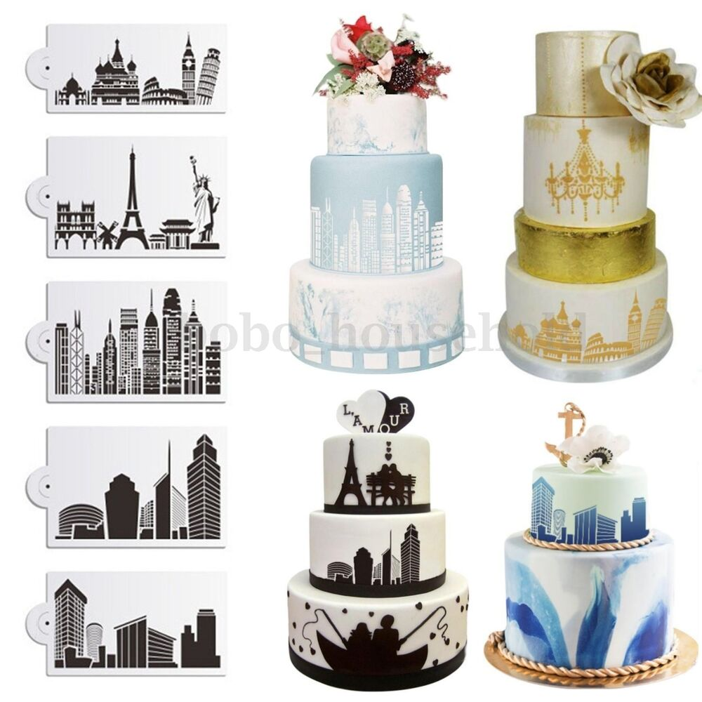 5Pcs Building Lace Cake Stencils Wedding Cake Cookie Border Side ...