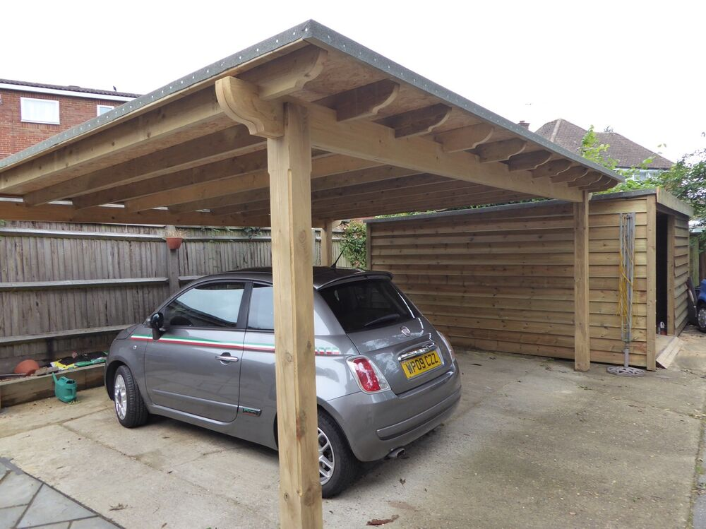 Wood Car Shelters : Large m wooden pergola oversized car