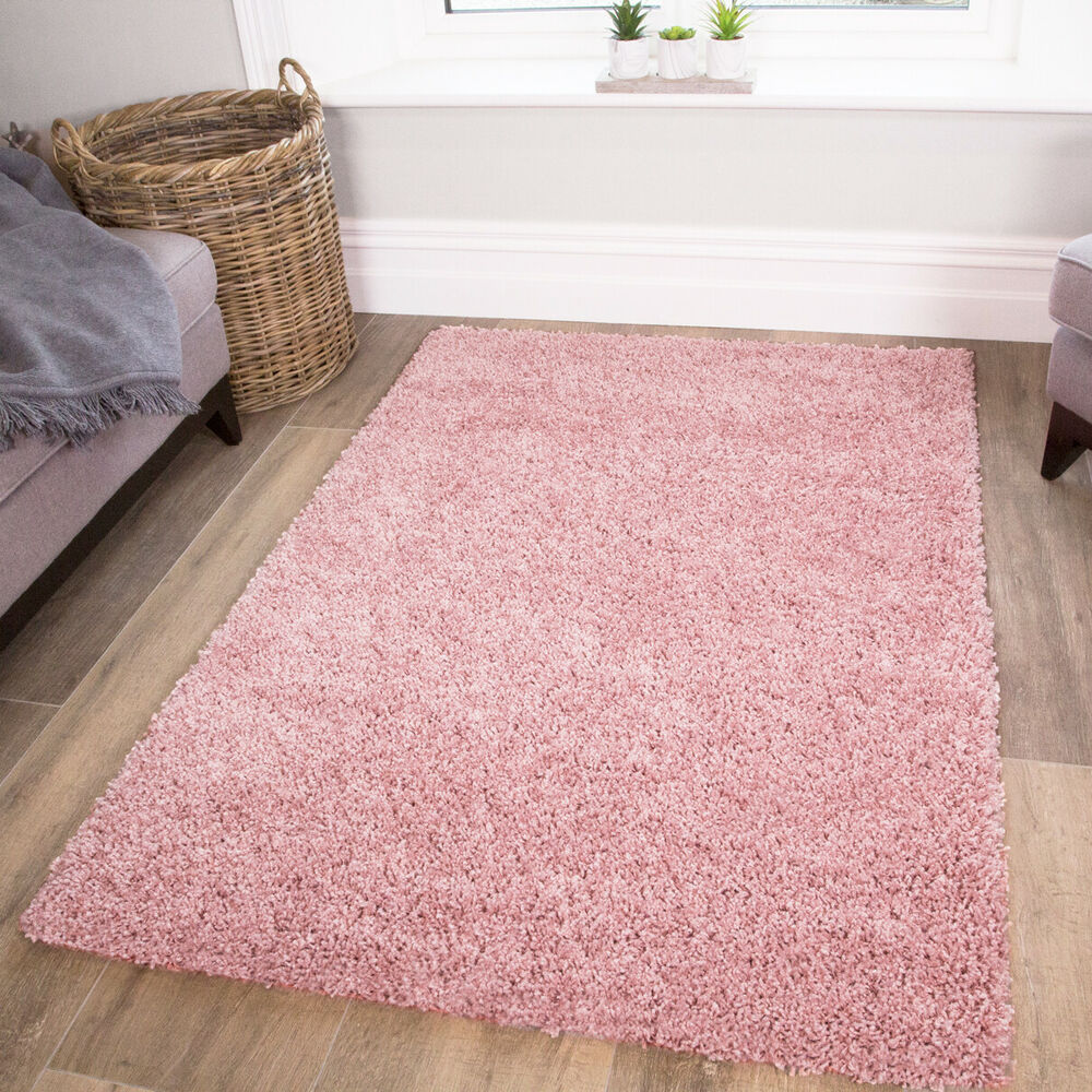 Fluffy Super Soft Cosy Pink Shaggy Rugs Thick Non Shed