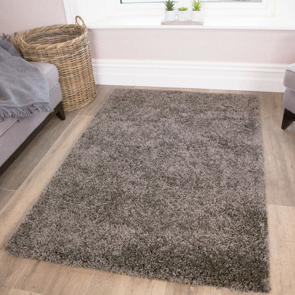 Soft fluffy charcoal grey shaggy rug cosy furry thick non - Grey living room rug ...