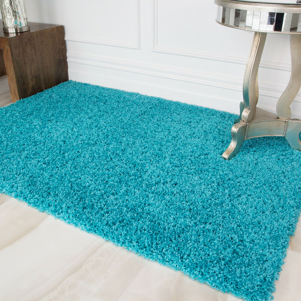 Bright Teal Blue Shaggy Rug Soft Fluffy Non Shed Shaggy