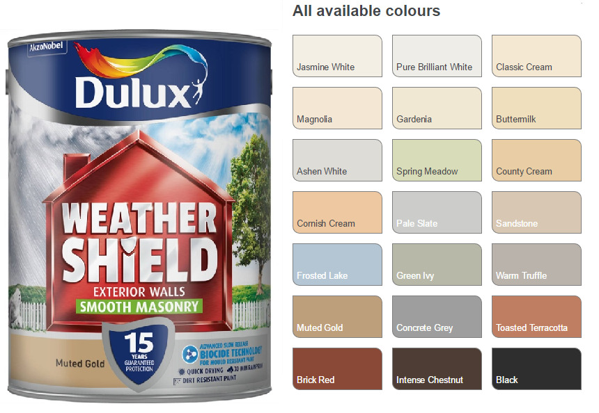 Dulux Weathershield Smooth Masonry Paint 5l Pick Your