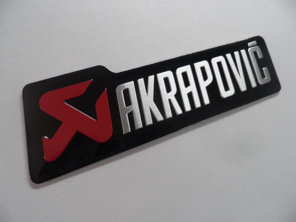 akrapovic auspuff schriftzug metall alu 3d sticker emblem logo aufkleber ebay. Black Bedroom Furniture Sets. Home Design Ideas