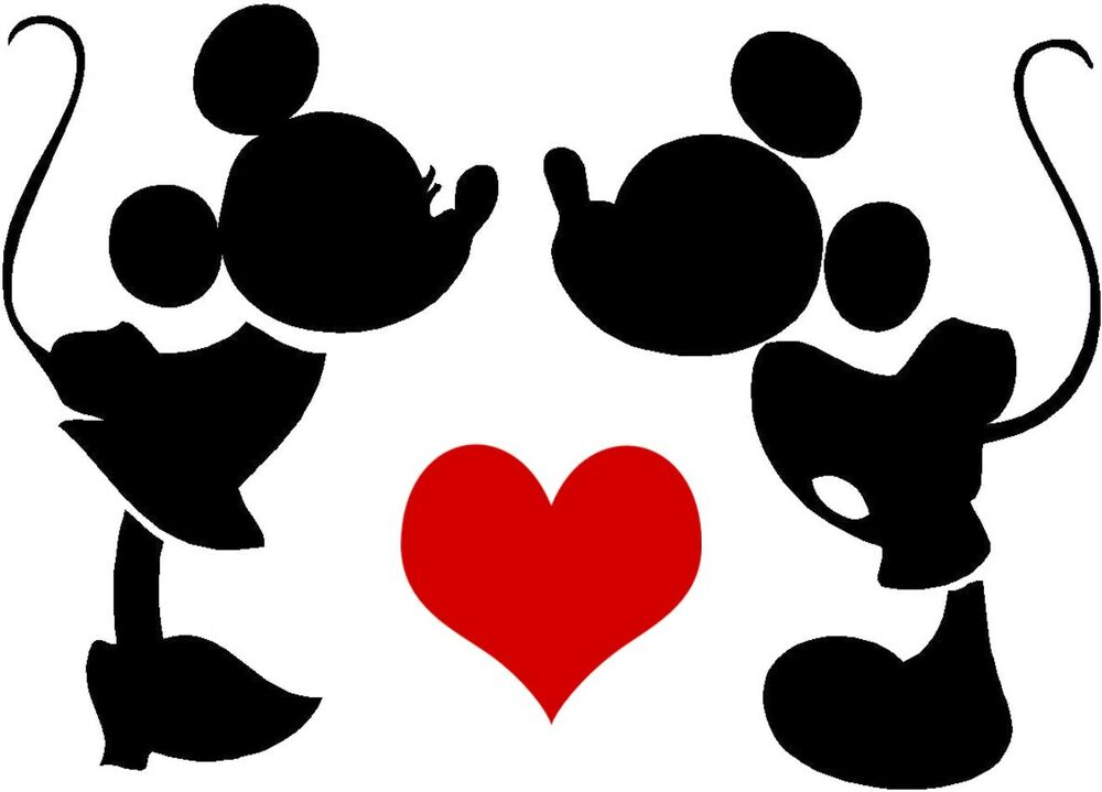 Minnie Mouse And Mickey Mouse Kissing >> Custom Vinyl Decal Run Disney Mickey Minnie Love Silhouette Heart Red Sticker | eBay