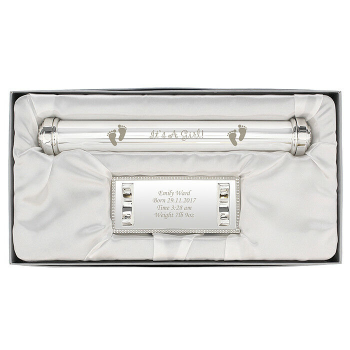 Personalised Its A Girl Birth Certificate Holder Silver Plated