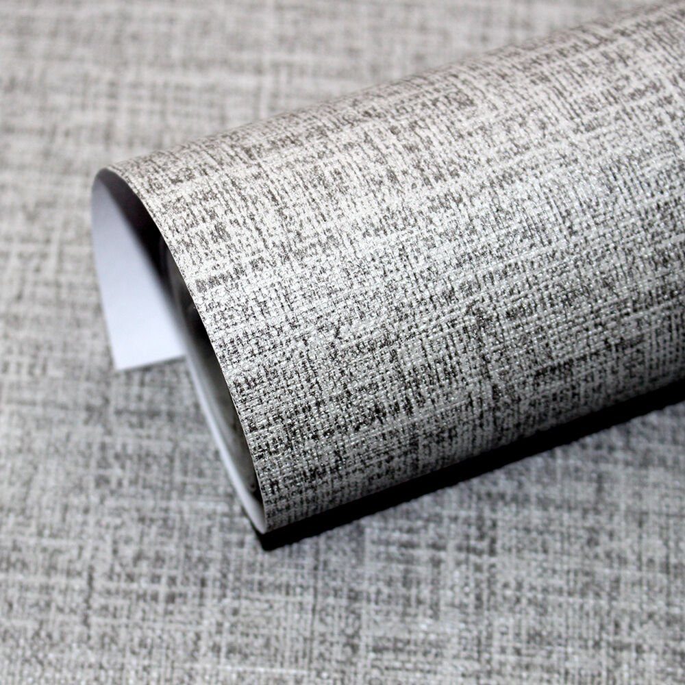 Faux grasscloth peel stick wallpaper lt grey linen self for Wallpaper with adhesive backing