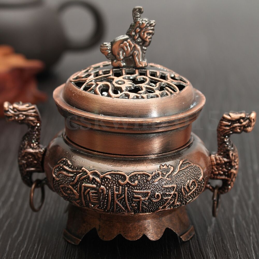 Home Decor China: Portable China Alloy Double Dragon Hollow Cover Incense