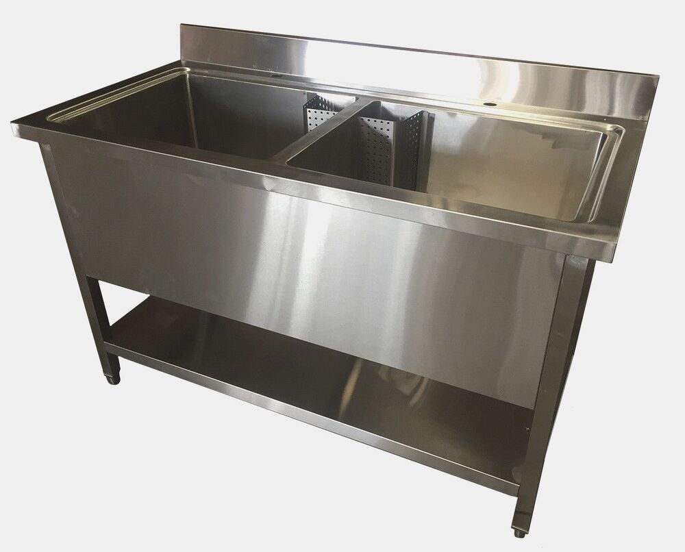 Commercial Stainless Steel Deep Double Pot Wash Catering