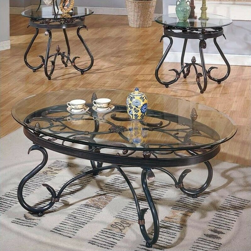 Steve Silver Company Lola 3 Piece Coffee Table Set Glass
