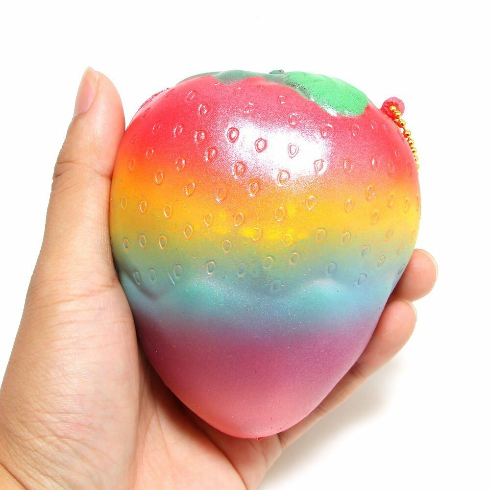 1P Shiny Rainbow Strawberry Squishy Super Jumbo Scented Slow Rising Rare Fun Toy eBay