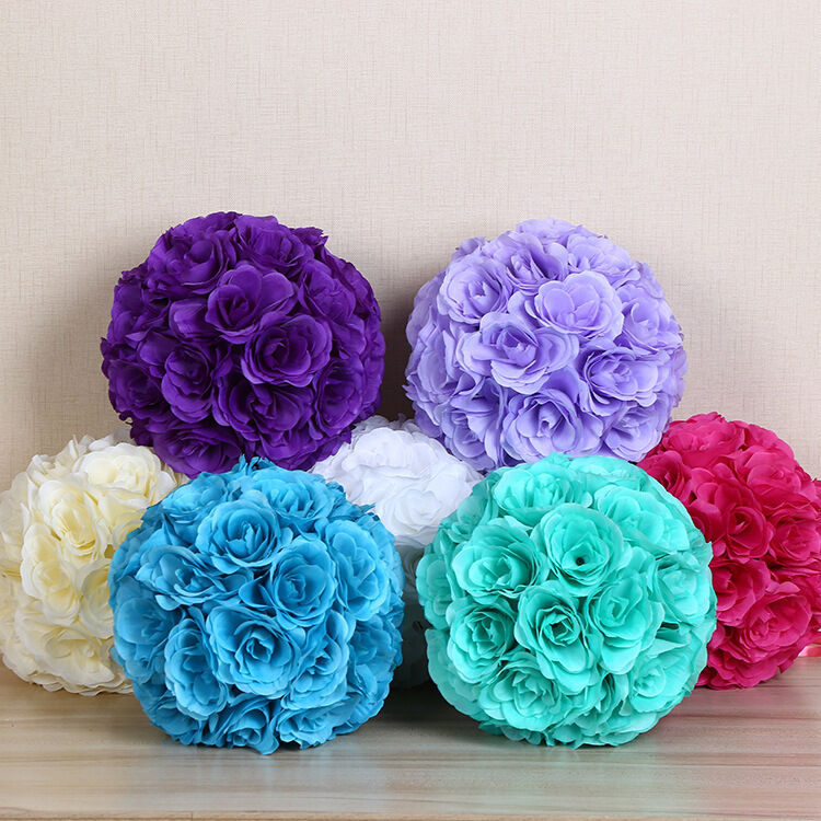 "7 Inches White Flower Ball: 7"" Flower Kissing Ball Wedding Silk Rose Balls Party"