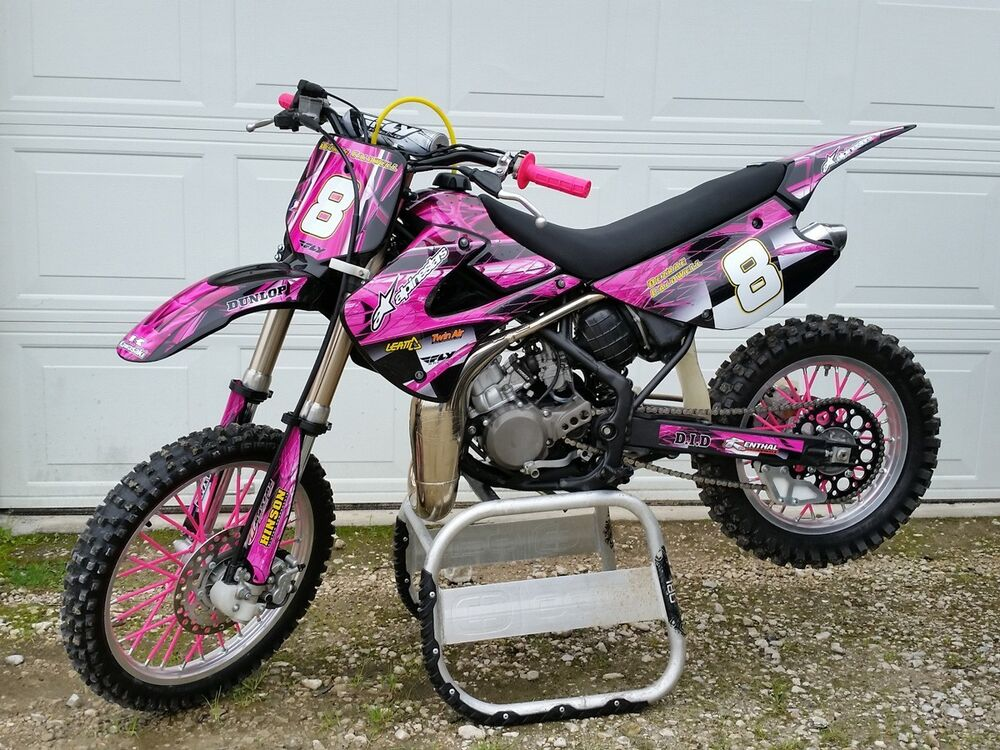kawasaki kx 85 kx100 graphics by amg 24 mil thick racing vinyl 2001 hot pink ebay. Black Bedroom Furniture Sets. Home Design Ideas