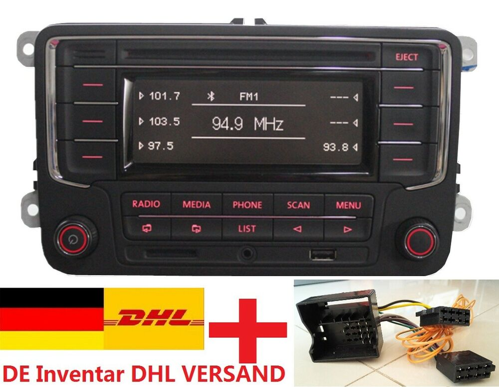 autoradio vw rcn210 mit bluetooth adapter caddy jetta golf passat tiguan eos ebay. Black Bedroom Furniture Sets. Home Design Ideas