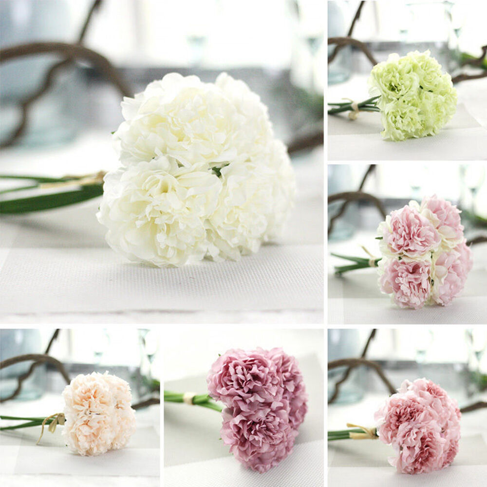 Bouquet 5 heads bunch artifical peony silk flower for Home decorations ebay