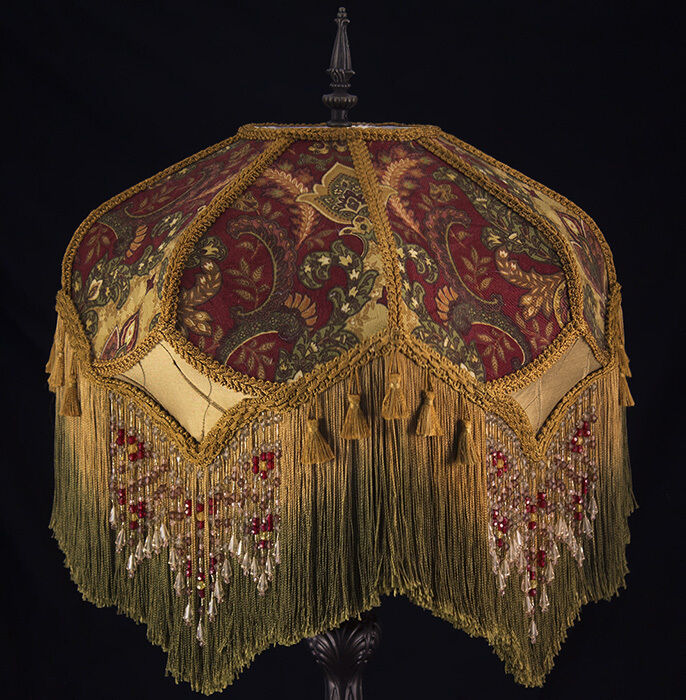 Victorian Lamp Shade Paisley Damask Burgundy Gold Green