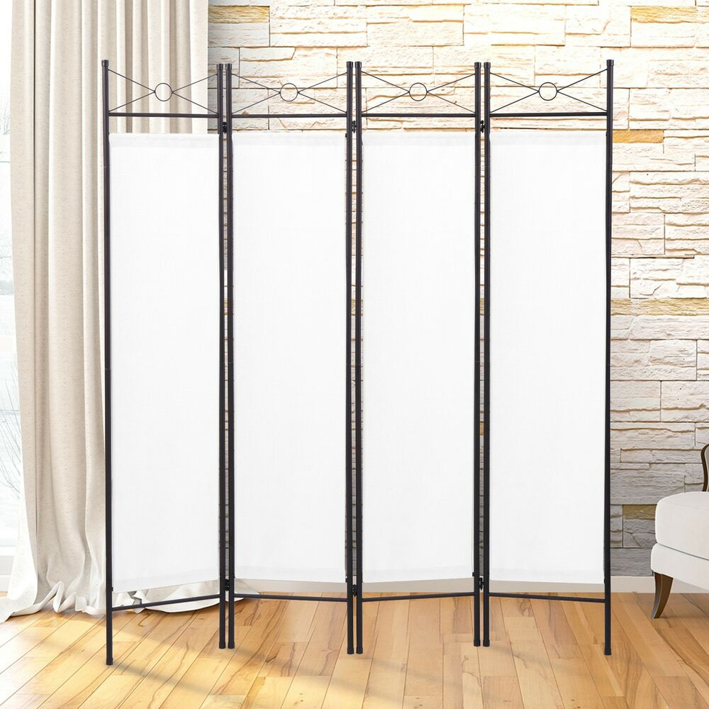 4 panel screen room divider fabric metal frame folding partition privacy white ebay. Black Bedroom Furniture Sets. Home Design Ideas