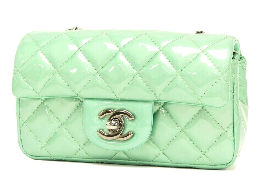 Details about CHANEL - VTG Mint Green Quilted Patent Leather Mini CC  Crossbody Chain Flap Bag ade71bd744f91