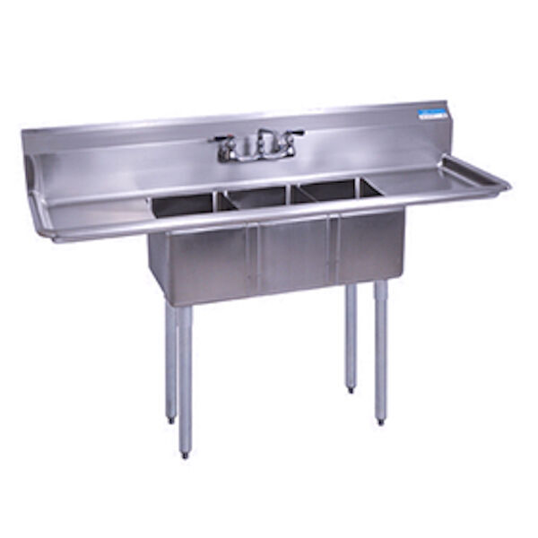 stainless steel 3 compartment sink 60 x 20 with 2 drainboards with faucet - Three Compartment Kitchen Sink