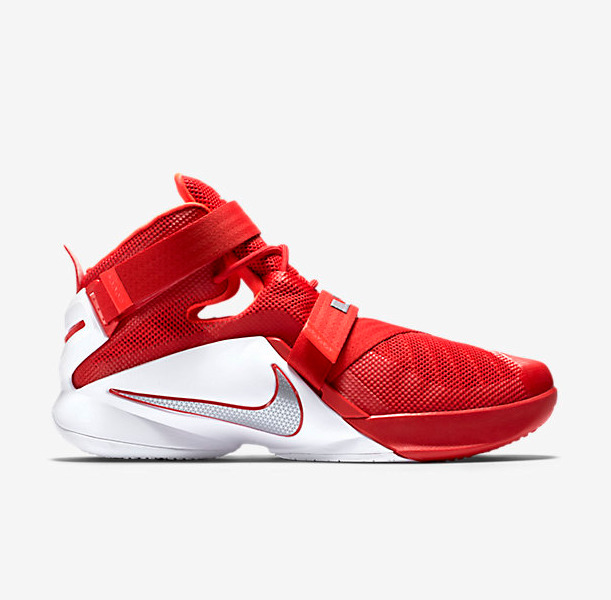 brand new 1b47f 6427a Details about Nike MEN S LEBRON Soldier 9 University Red White Metallic  Silver SIZE 17 NEW