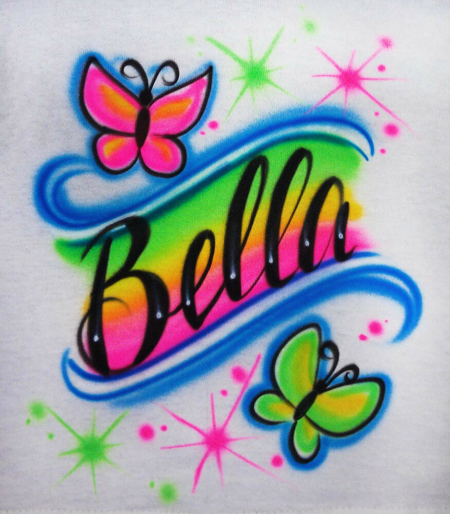 Airbrushed Custom Name With Butterflies In Rainbow T Shirt Hoodie