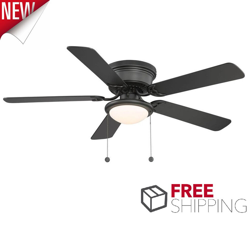 Ceiling Fan With Light Low Profile 52 Inches Flush Mount Frosted Glass Black Dry Ebay