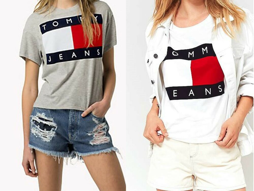 tommy jeans t shirt tommy hilfiger shirt s m l xl damen shirt neu wei grau ebay. Black Bedroom Furniture Sets. Home Design Ideas