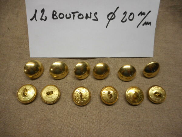 12 BOUTONS MILITAIRES METALLIQUE DORES Diam. 20 mm  12 FRENCH MILITARY BUTTONS