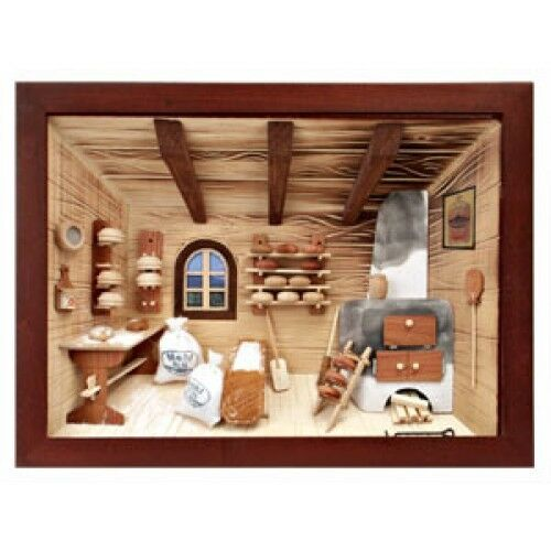 Kitchen Diorama Made Of Cereal Box: German 3D Wooden Shadow Box Picture Diorama Bread Pastry
