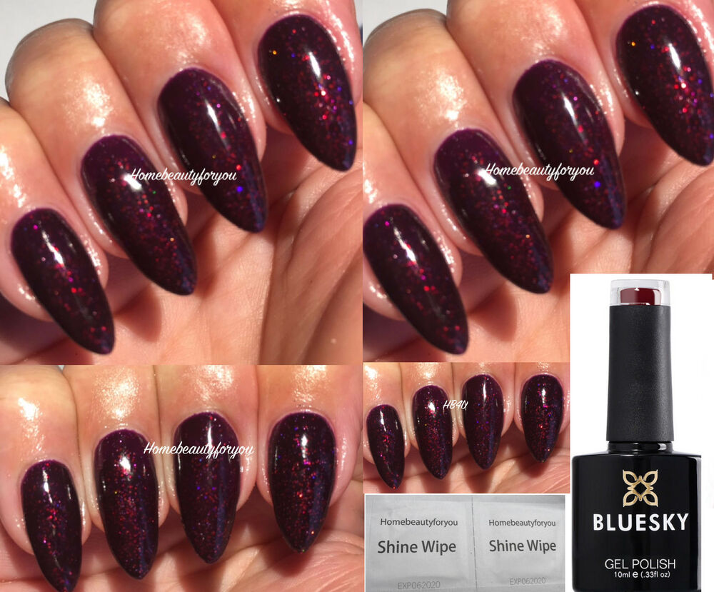 BLUESKY BLACK CHERRY DARK BURGUNDY FINE GLITTER NAIL GEL POLISH UV ...